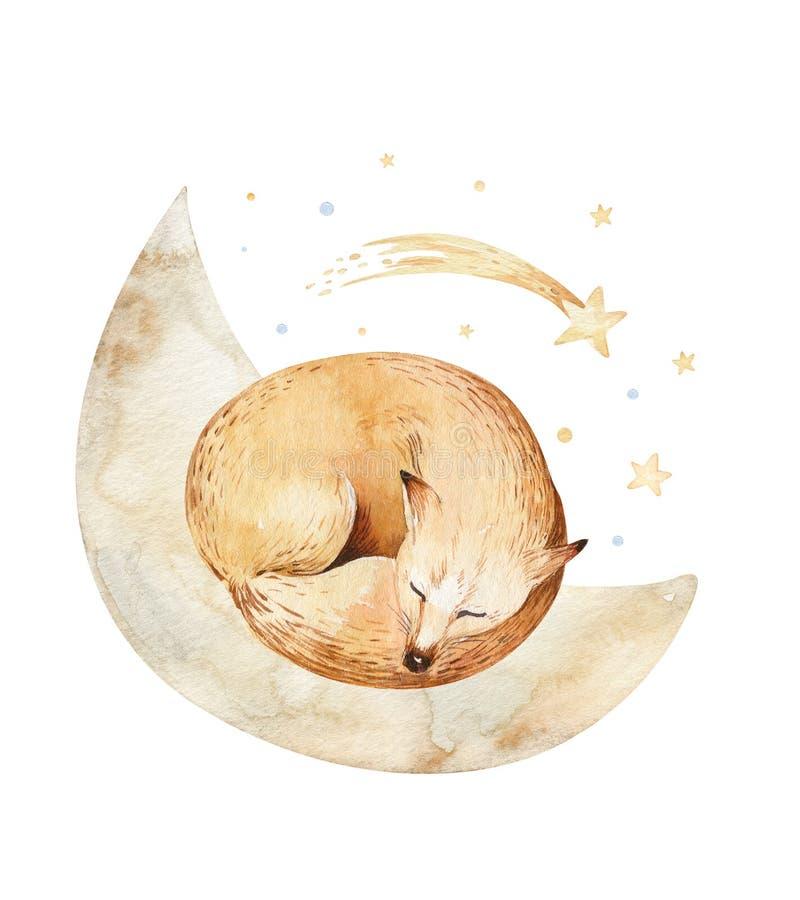 Cute dreaming cartoon fox animal hand drawn watercolor illustration. Sleeping charecher kids nursery wear fashion design. Cute dreaming cartoon animal hand drawn stock illustration