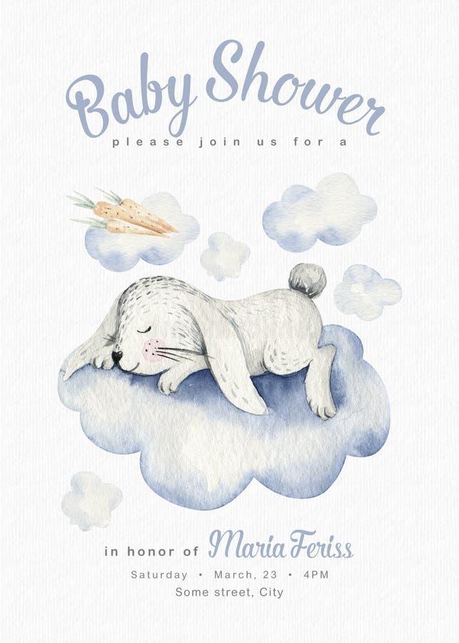 Cute dreaming cartoon rabbit animal hand drawn watercolor illustration. Sleeping charecher kids nursery wear fashion royalty free illustration