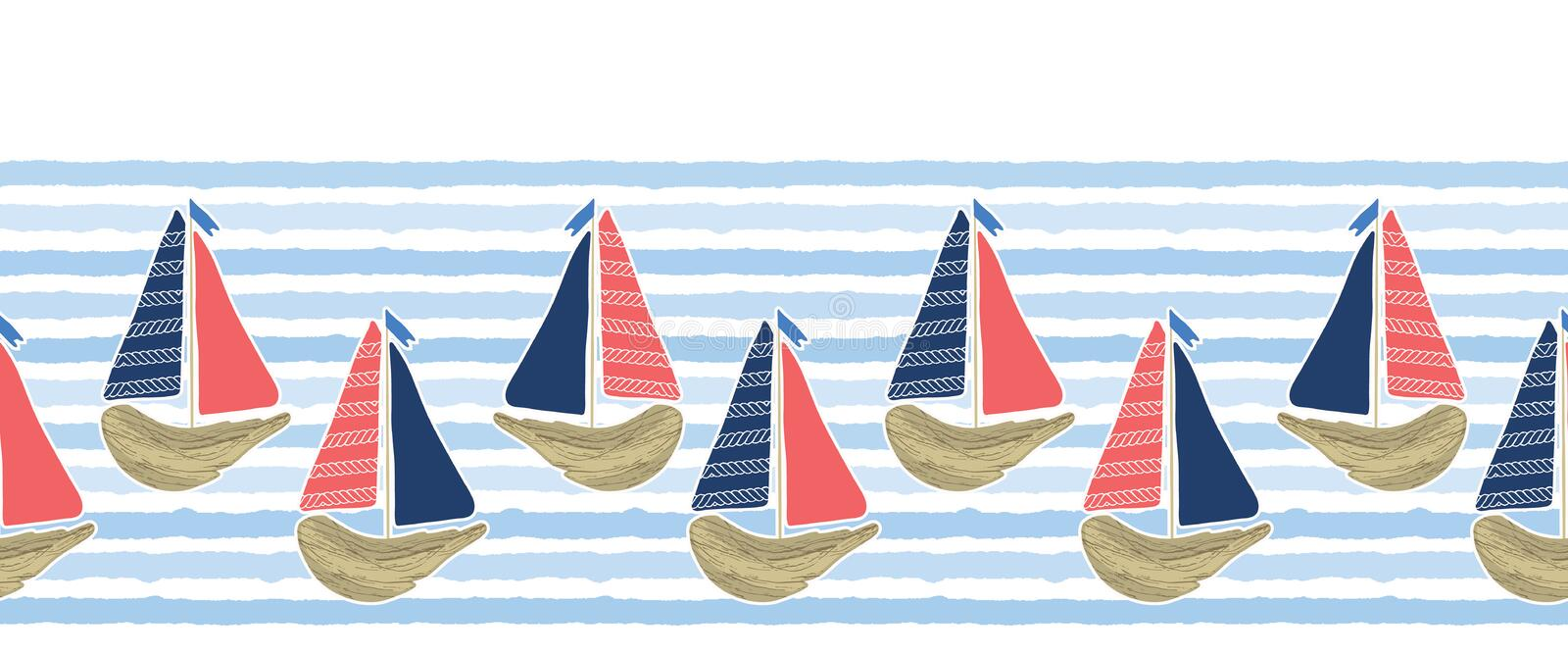 Cute driftwood sailboat on the blue ocean sea border pattern. Marine water stripes seamless vector background. Nautical sailing stock illustration