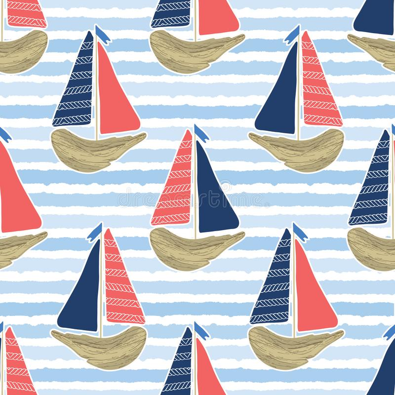 Cute driftwood sailboat on the blue ocean sea pattern. Marine water stripes seamless vector background. Sailing vessel for stock illustration