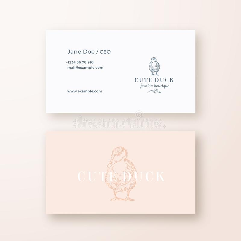 Cute Duck Abstract Feminine Vector Sign or Logo and Business Card Template. Premium Stationary Realistic Mock Up. Modern. Typography and Soft Shadows. Isolated royalty free illustration