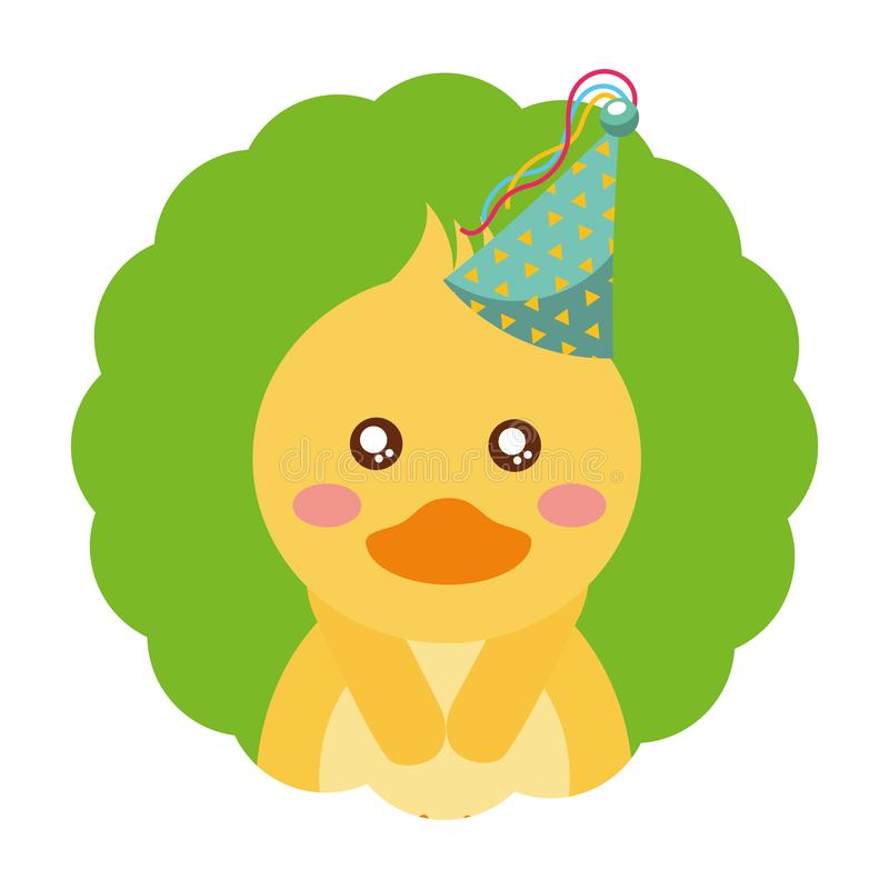 Cute duck birthday party hat vector illustration