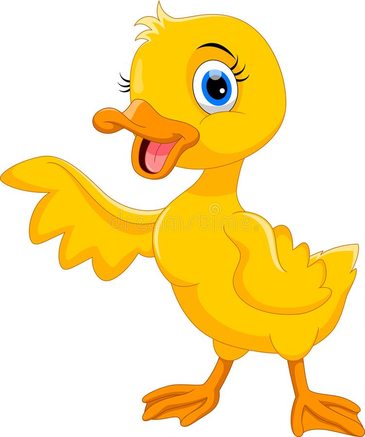 Free Cute Duck Cartoon Waving. Funny And Adorable Royalty Free Stock Photos - 123358948