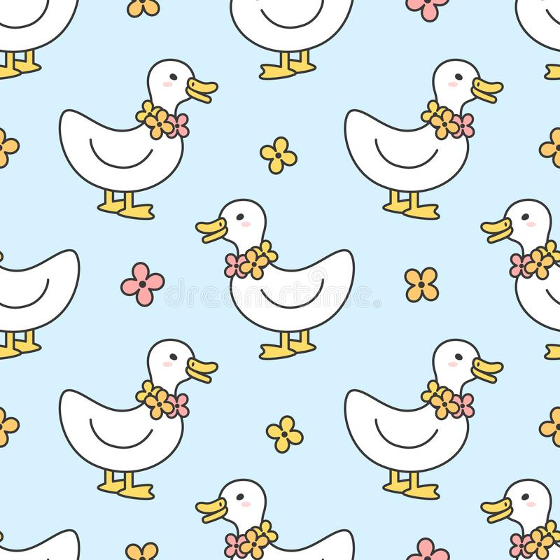 Cute duck and flowers necklace Seamless Pattern Background royalty free illustration