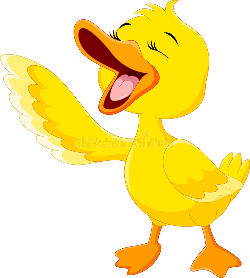 Cute duck laugh cartoon. On white background stock illustration