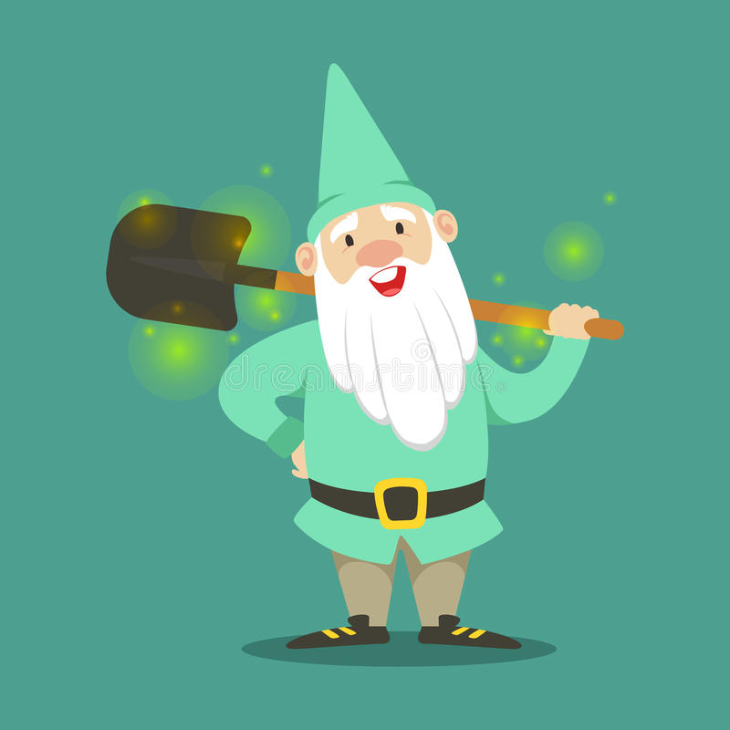 Cute dwarf in a light blue jacket and hat standing with shovel vector Illustration vector illustration
