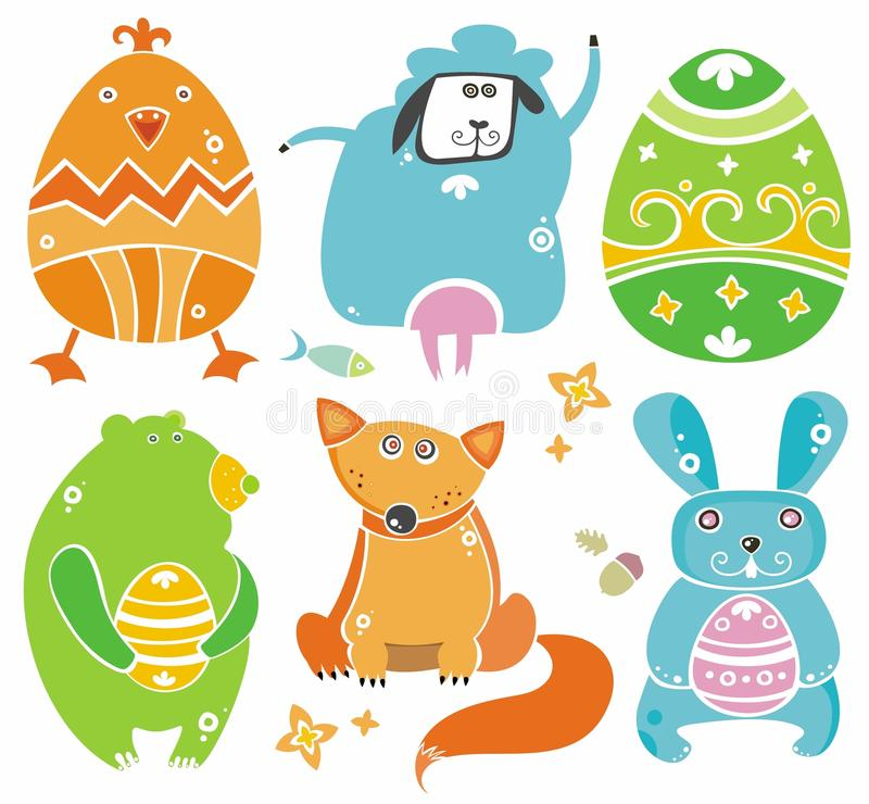 Cute Easter animals with eggs. stock illustration