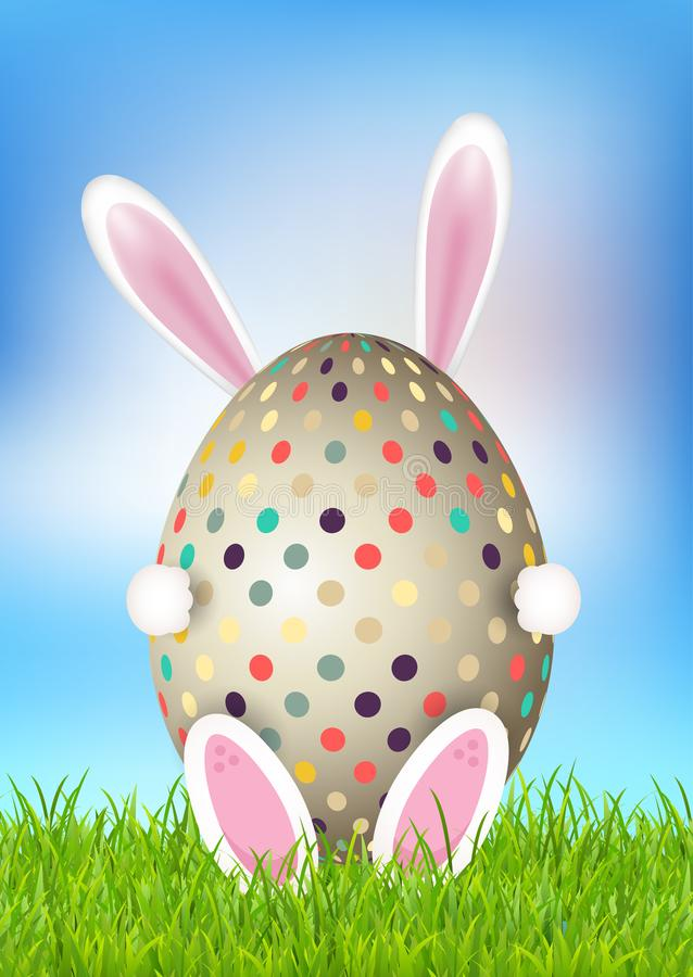 Cute Easter background with bunny holding egg vector illustration