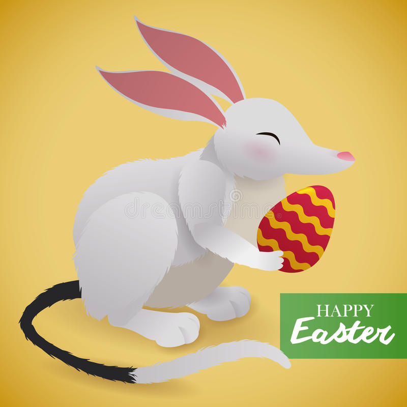 Cute Easter Bilby with Paschal Egg, Vector Illustration royalty free stock photography