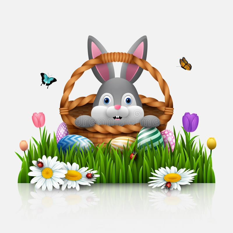 Cute Easter bunny in a basket with colorful eggs on a white background vector illustration