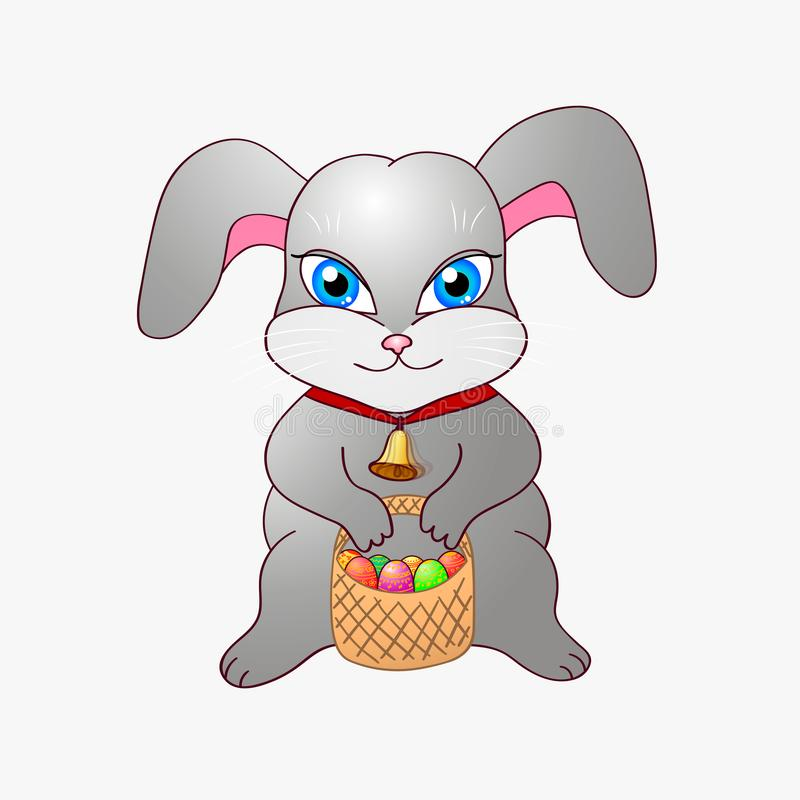 Cute Easter bunny with a bell around his neck and a basket of painted eggs vector illustration