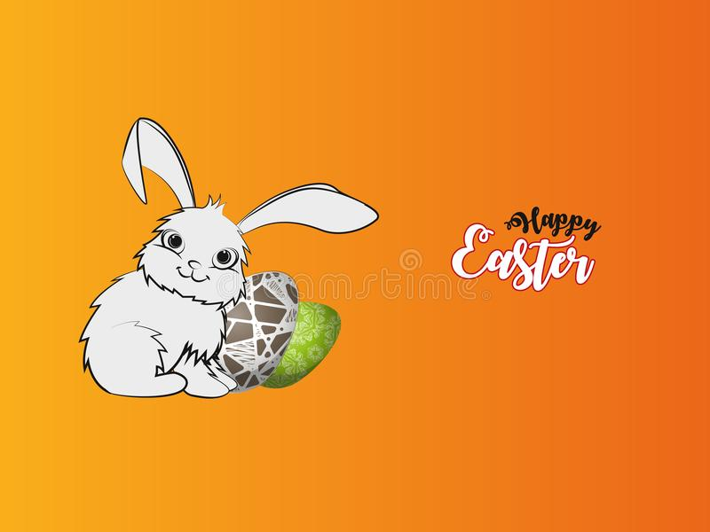 Cute Easter Bunny. Colorful Happy Easter greeting card with rabbit, bunny, eggs and banners royalty free illustration