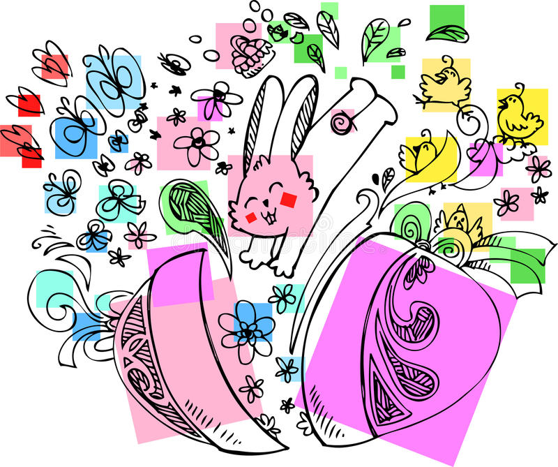 Download Cute Easter bunny with egg stock vector. Illustration of chick - 29621737