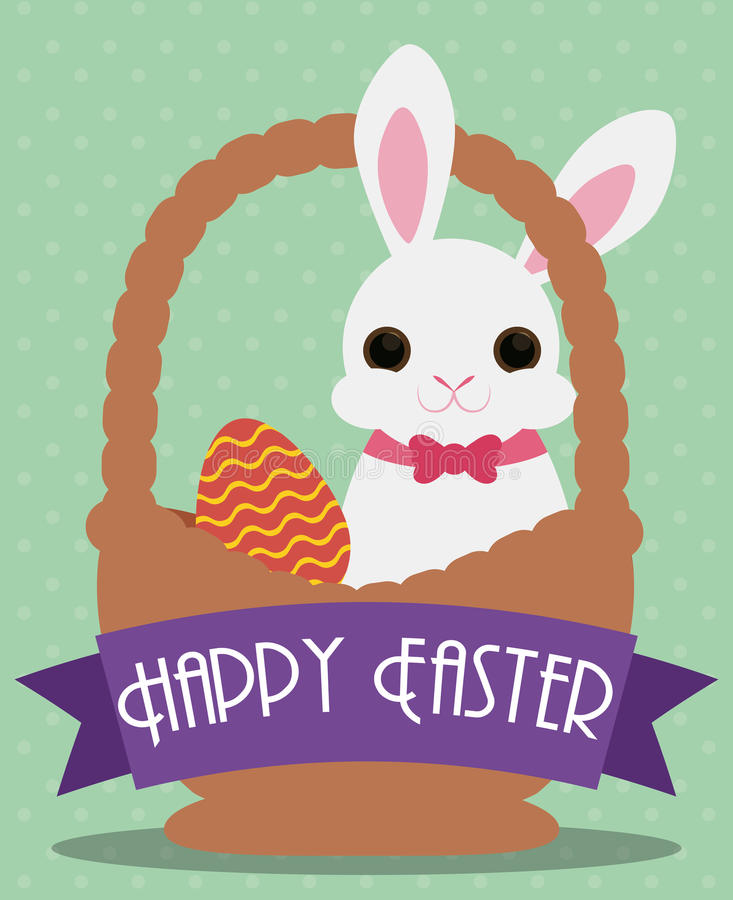 Cute Easter Bunny with Egg in Basket, Vector Illustration stock images