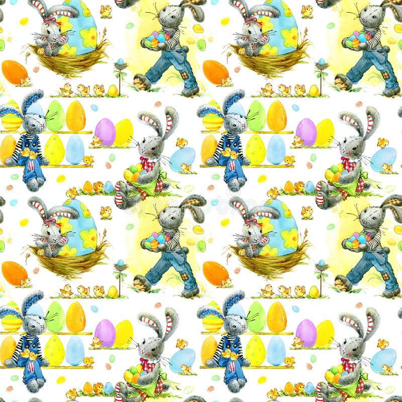 Cute Easter bunny and eggs watercolor seamless pattern vector illustration