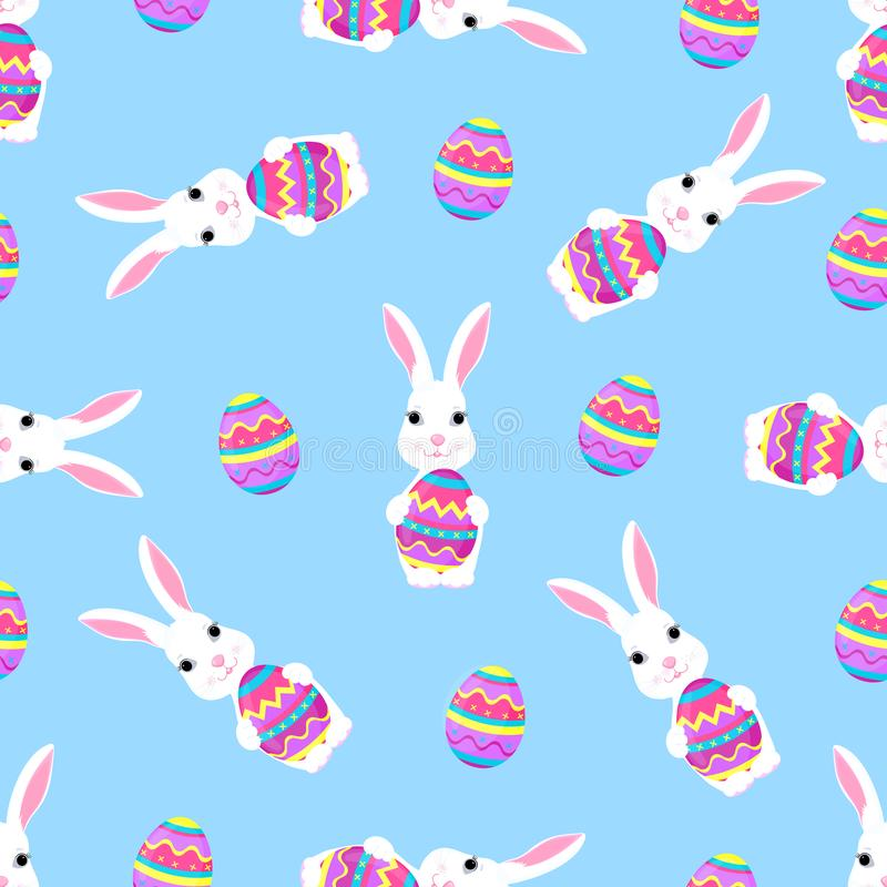 Cute Easter bunny holds paschal egg in its paws seamless pattern royalty free illustration