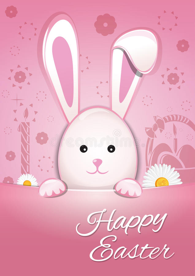 Cute Easter bunny on a pink background. Happy Easter. Symbol of Easter celebrations stock illustration