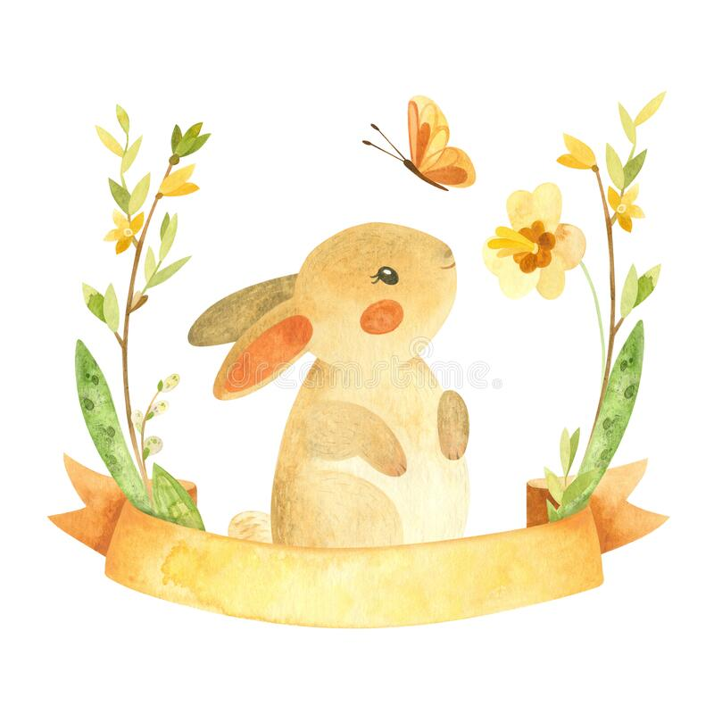Free Cute Easter Bunny With Ribbon, Butterfly And Flower Wreath. Easter Or Children`s Themed Birthday Card Template With A Rabbit Stock Photography - 207535462