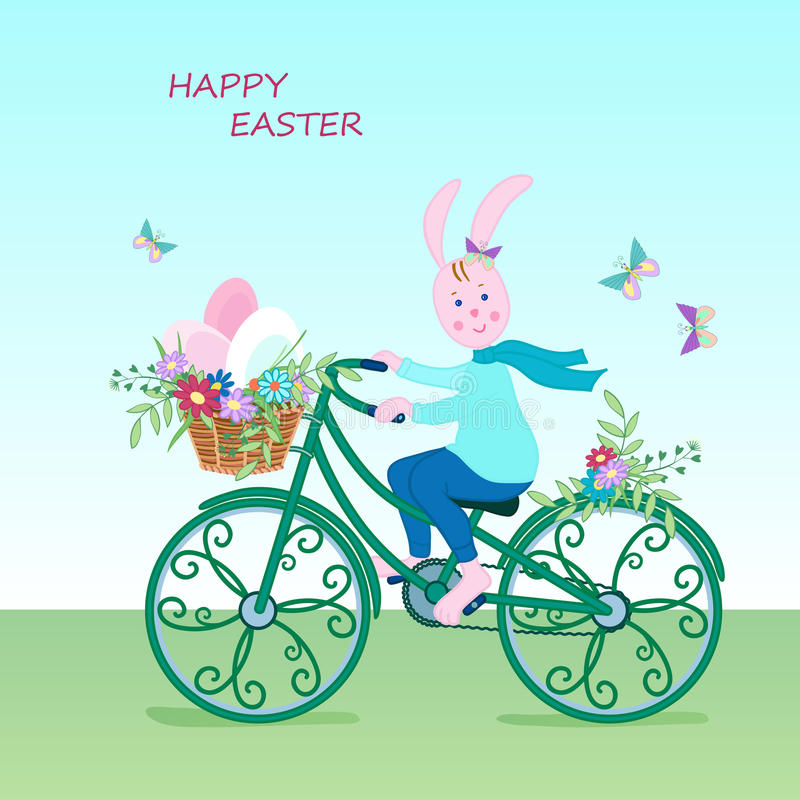 Cute Easter card bunny-01 royalty free illustration