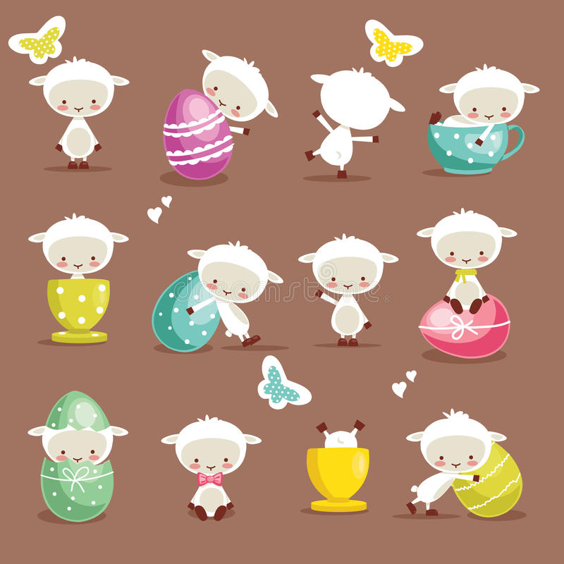 Download Cute easter character set stock vector. Illustration of poses - 23689496