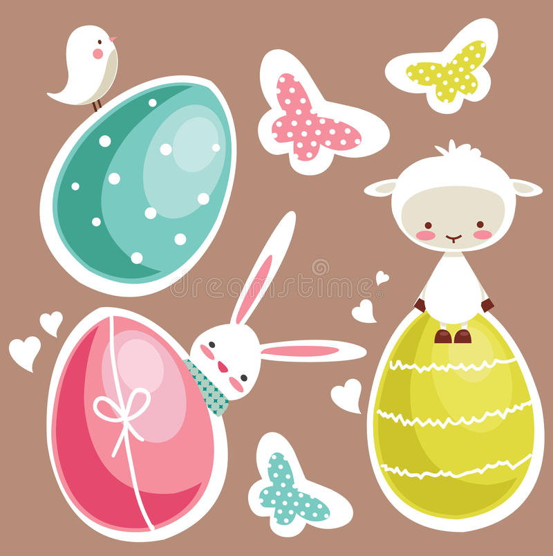 Cute Easter design elements vector illustration