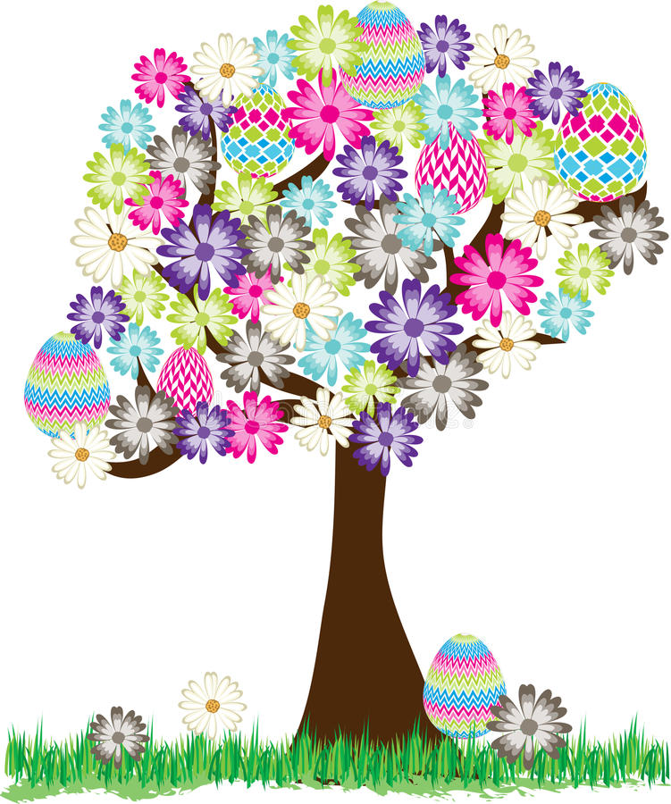 Cute Easter Egg Daisy Tree Stock Vector