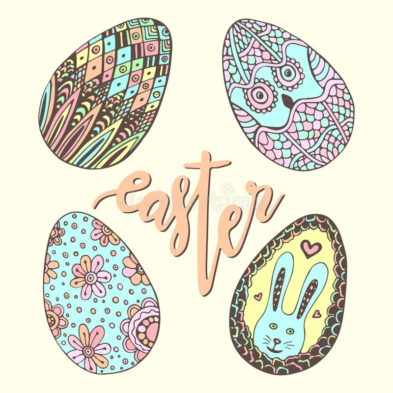 Cute easter eggs. Doodle hand drawn set. Happy holiday decoration for greeting card. Zentangle egg. royalty free illustration