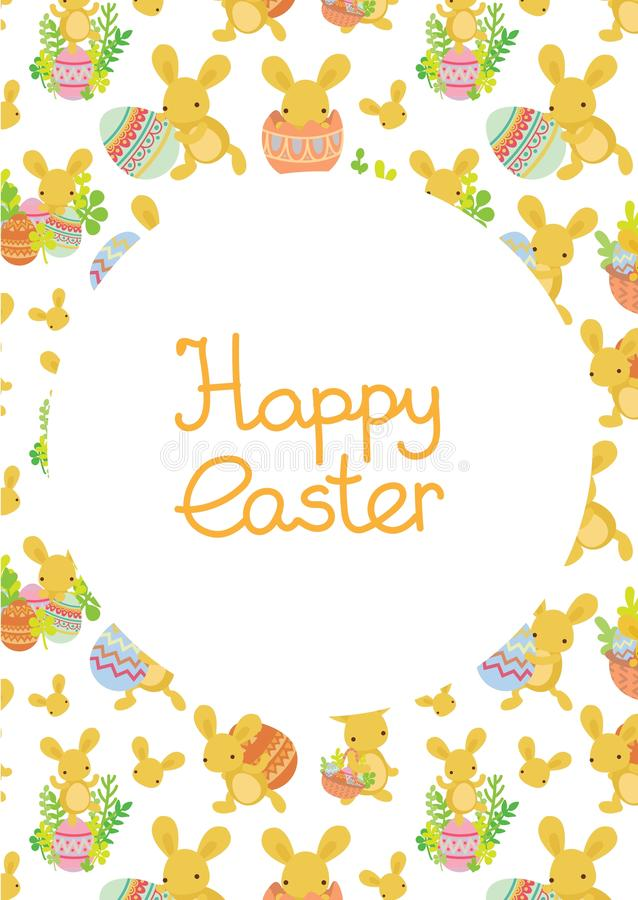 Cute Easter frame template of bunnies and eggs royalty free illustration