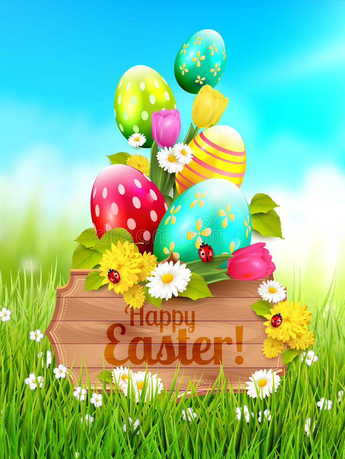 Cute Easter greeting card royalty free illustration