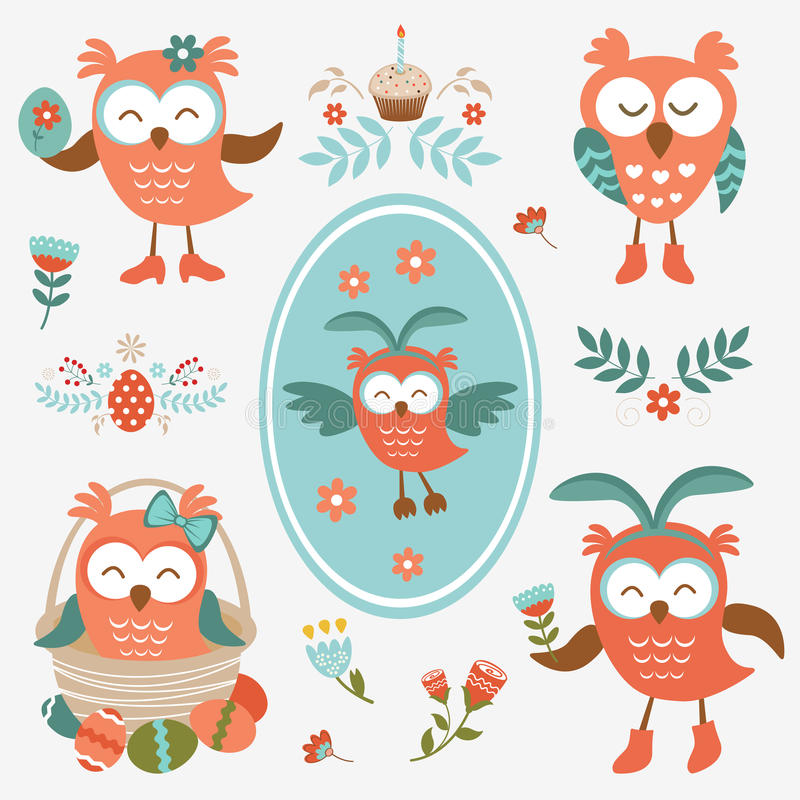 Cute Easter olws collection royalty free illustration