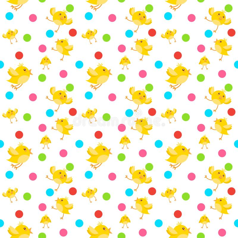 Cute Easter Ornament Seamless Pattern With Yellow Chicken On White Background vector illustration