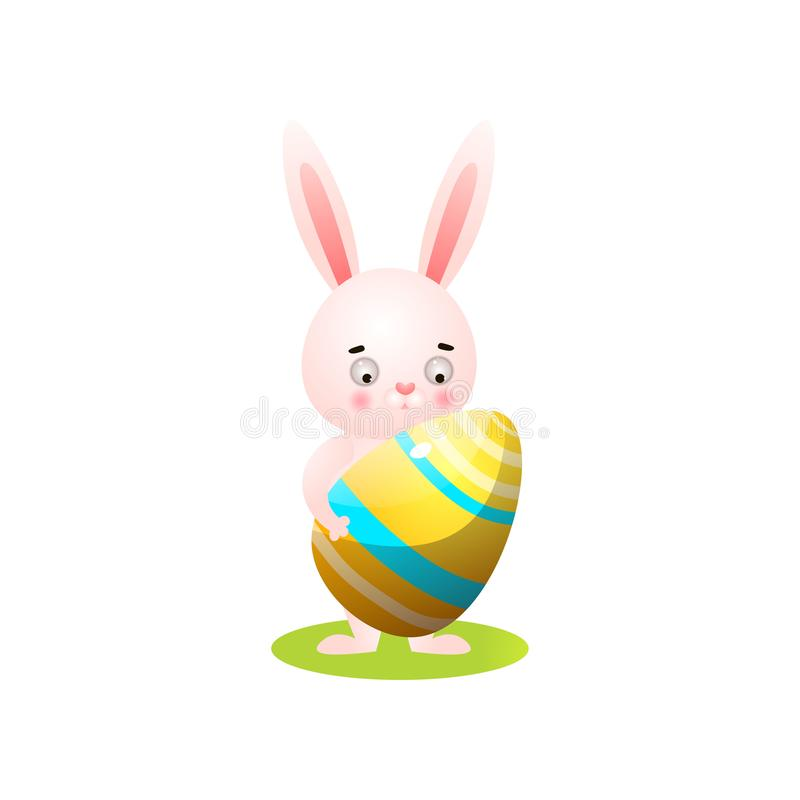 Cute easter rabbit on green grass with gold egg. Cute easter rabbit on green grass with gold striped colorful egg. Cartoon style. Vector illustration on white vector illustration
