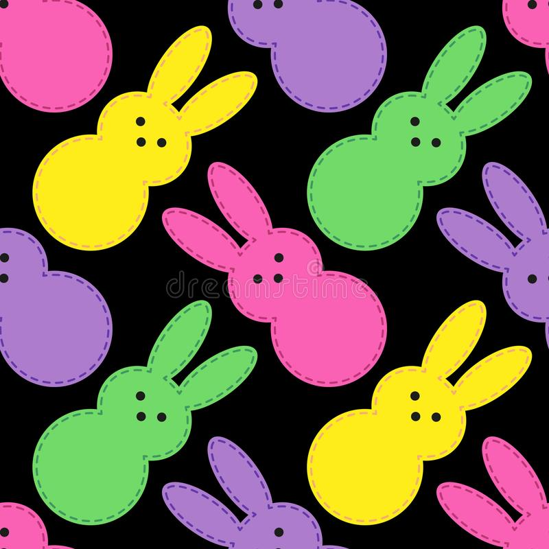 Cute Easter seamless pattern design with funny cartoon characters of bunnies in 80s and 90s style neon colors vector illustration