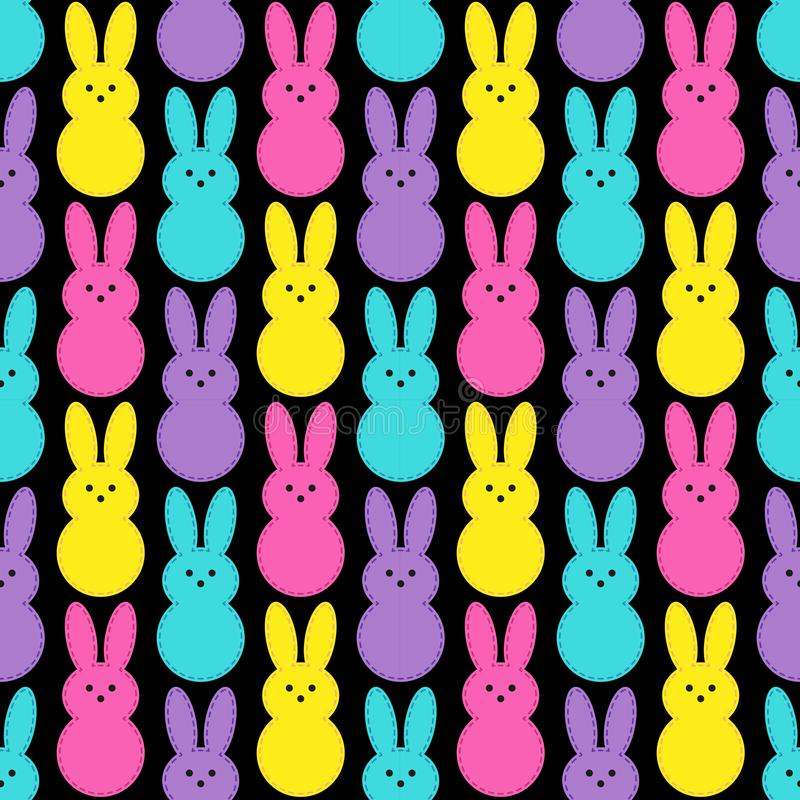 Cute Easter seamless pattern design with funny cartoon characters of bunnies in 80s and 90s style neon colors royalty free illustration