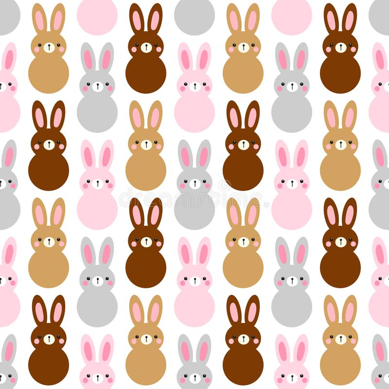 Cute Easter seamless pattern design with funny cartoon characters of bunnies royalty free illustration