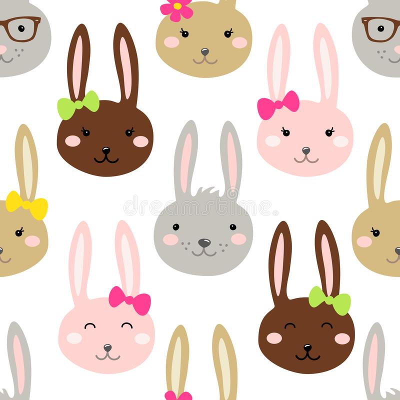 Cute Easter seamless pattern design with funny cartoon characters of bunnies vector illustration