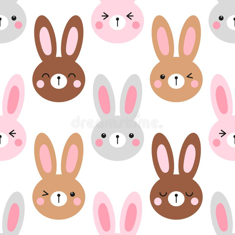 Cute Easter seamless pattern design with funny cartoon characters of emoji bunnies vector illustration
