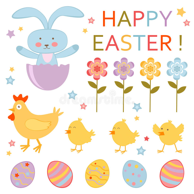 Cute Easter Set Royalty Free Stock Images
