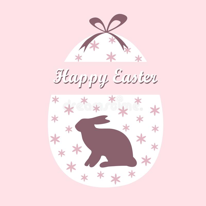 Cute easter spring card with easter egg and hare, royalty free illustration