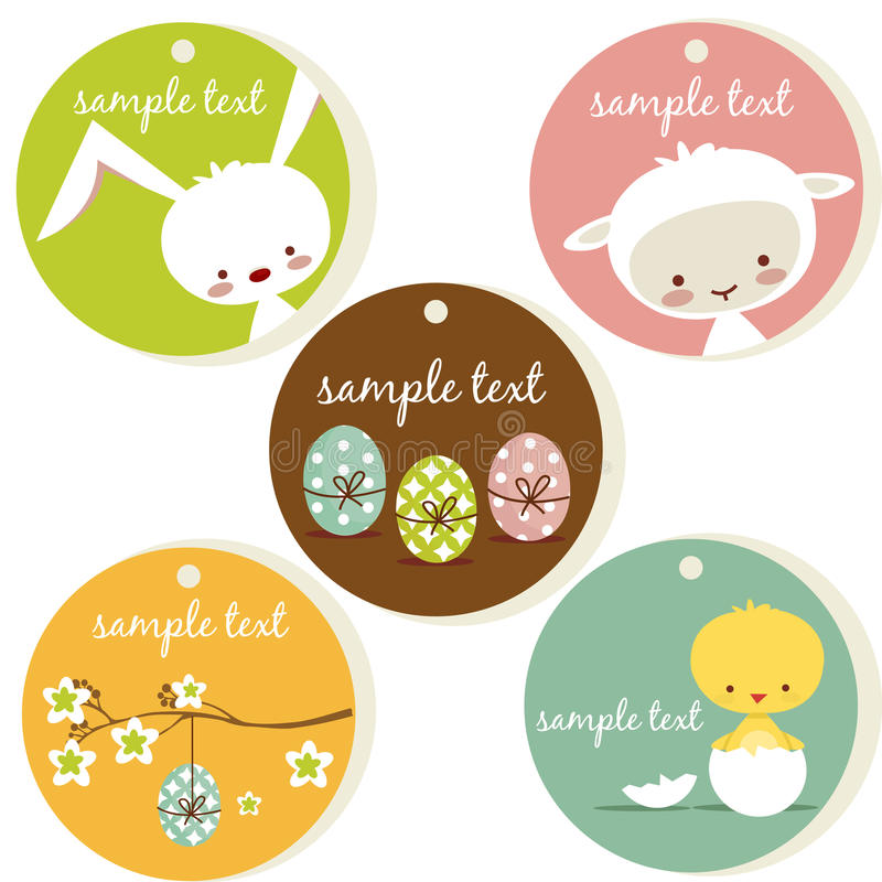 Cute easter tags stock illustration