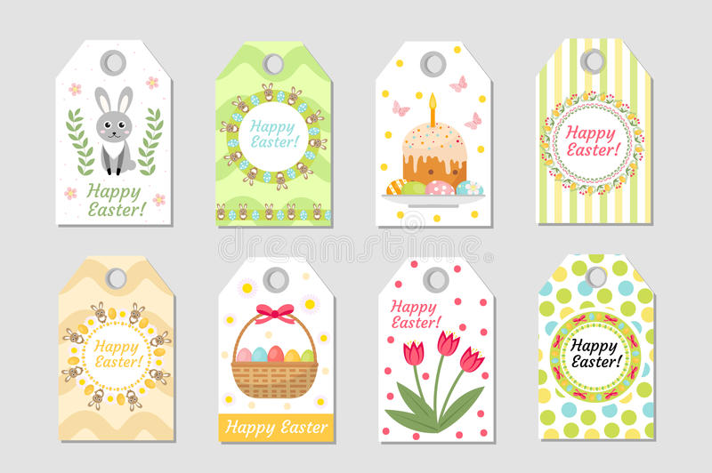 Cute Easter tags set. Labels collection with rabbit, eggs and flowers. Spring templates for your design. Vecto stock illustration