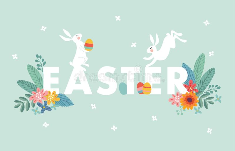 Cute Easter web banner with white rabbits, colorful Easter eggs, leaves and flowers. Spring greeting card, invitation royalty free illustration
