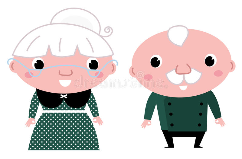 Cute elderly couple: grandmother and grandfather. Grandparents - standing stylized seniors. Vector cartoon vector illustration