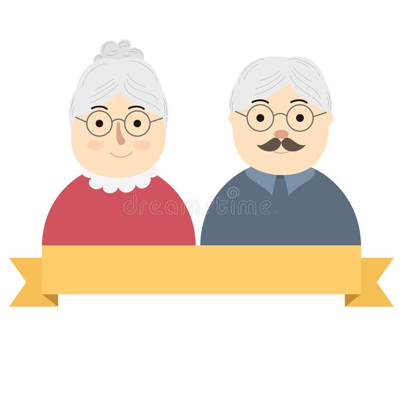Cute elderly couple wearing glasses. Cute elderly couple banner wearing glasses royalty free illustration