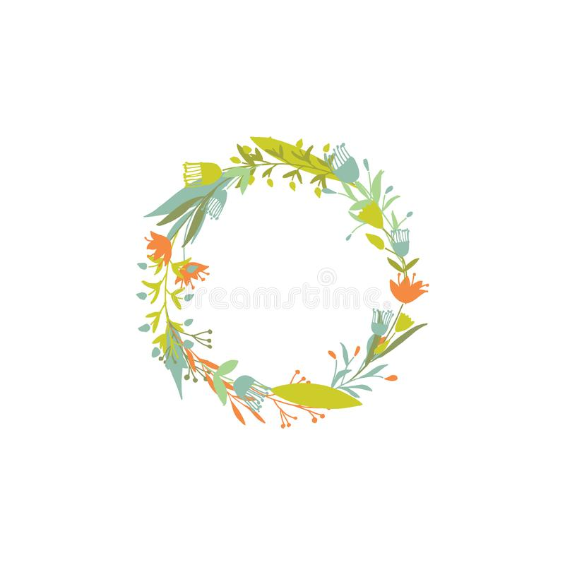 Floral round wreath. royalty free illustration