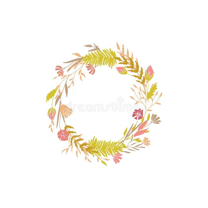 Floral round wreath. stock illustration