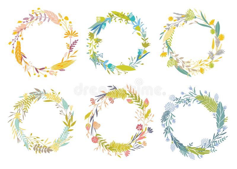 Floral round frames. royalty free illustration