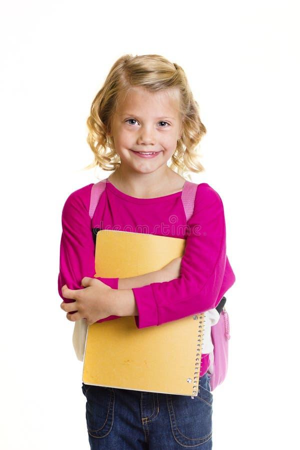 Cute Elementary School Girl Isolated stock image