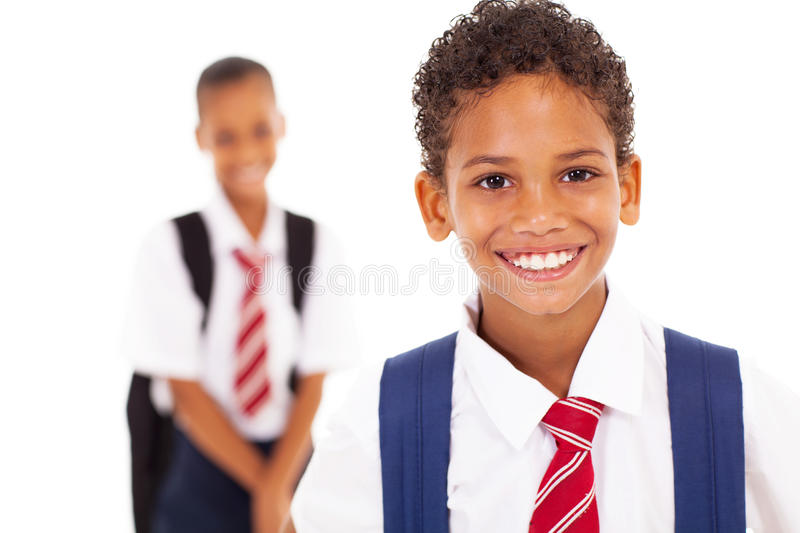Cute elementary schoolboy stock images