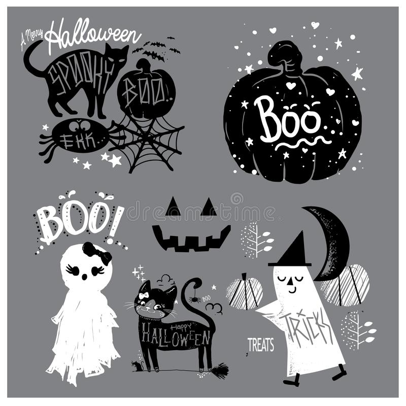 Cute Elements of Halloween vector illustration